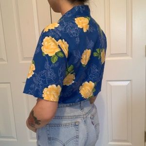 Erika Tops - Vintage blue button up yellow roses